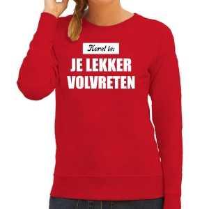 Kerst is: je lekker volvreten foute kersttrui / kerst outfit rood voor dames