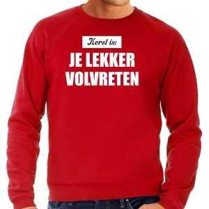 Kerst is je lekker volvreten foute kersttrui / kerst outfit rood voor heren
