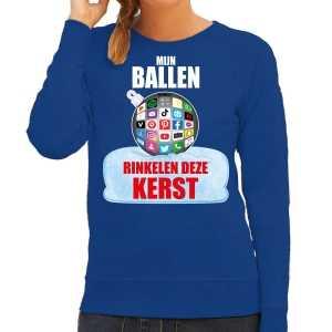 Rinkelende kerstbal sweater / foute kersttrui mijn ballen rinkelen deze kerst blauw voor dames