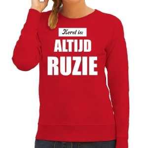 Rode foute kersttrui / sweater kerst is: altijd ruzie outfit dames