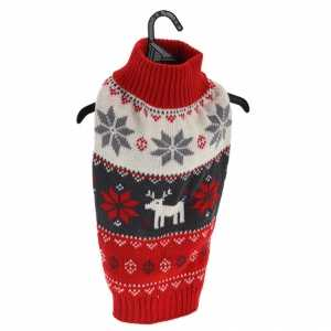 Rode gebreide foute kersttrui met sneeuwvlokken en rendieren voor huisdieren