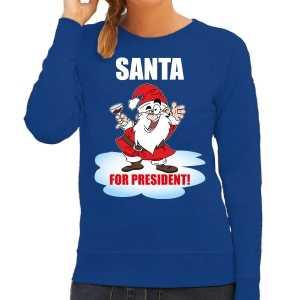 Santa for president kerst sweater / foute kersttrui blauw voor dames