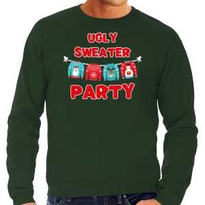 Ugly sweater party foute kersttrui / outfit groen voor heren