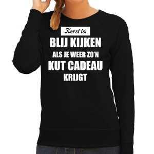 Zwarte foute kersttrui / sweater kerst is blij kijken / kut cadeau outfit dames